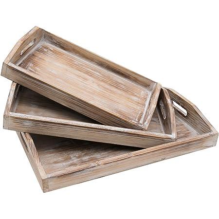 2 Vintage grande in tessuto e legno Servire Vassoi Naturale vimini vassoio in legno