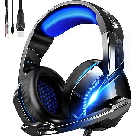 ゲーミングヘッドセット ps4 ヘッドセット、PHOINIKAS H3有線ヘッドセットはXbox One/PS4/スイッチ/PUBG/PC/ラップトップに最適です、7.1チャンネルノイズリダクション機能付きヘッドホン、高音質 LED マイク付き 重低音 強化 騒音抑制 軽量 伸縮可能 男女兼用(ブルー)