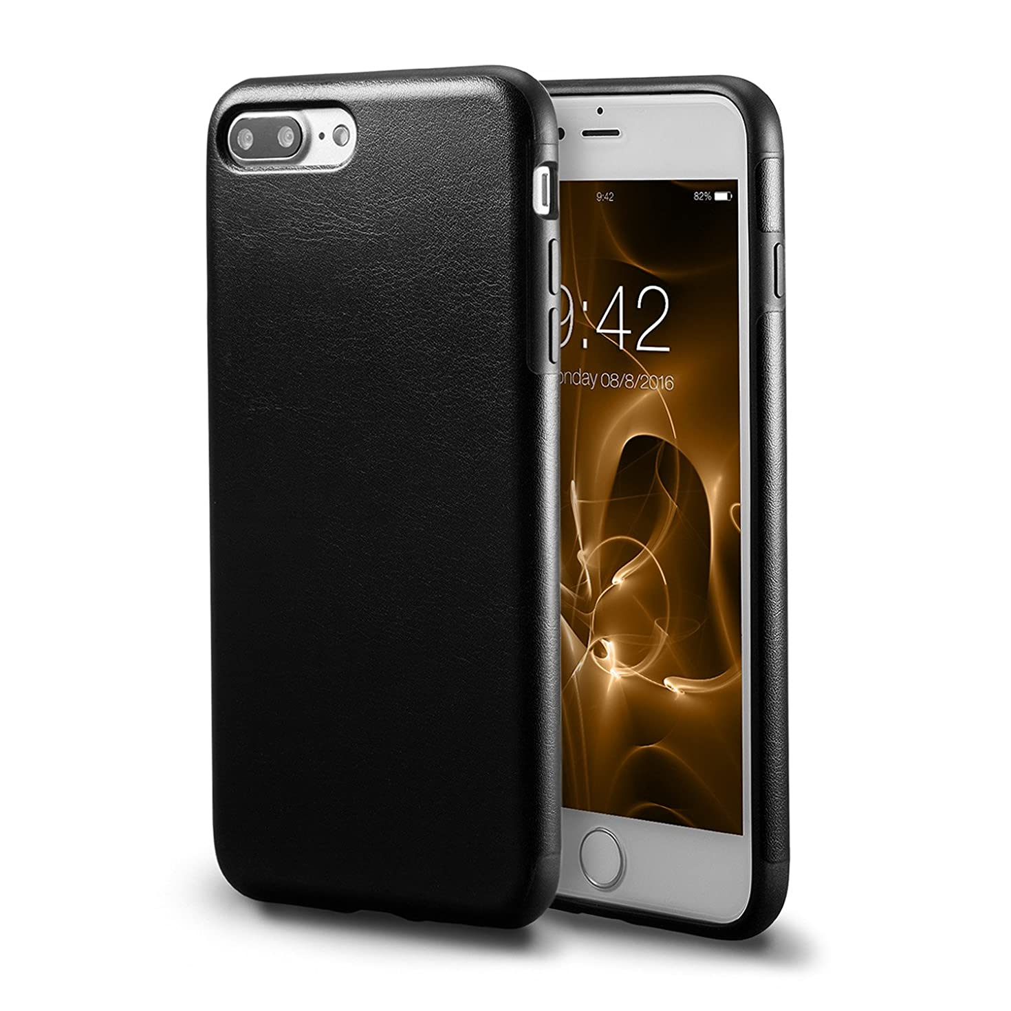 iPhone 7 Plus Black Leather Case/iPhone 8 Plus Black Leather Case, technext020 Ultra Slim Fit Artificial PU Synthetic Leather Case Shock Resistance Cover for iPhone 7 Plus/iPhone 8 Plus Black