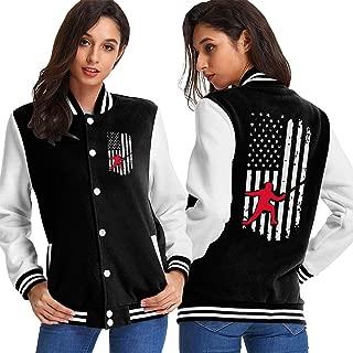 WOMh0EN Fencing American Flag-1 Women's Long Sleeve Baseball Jacket Baseball Jacket Uniform