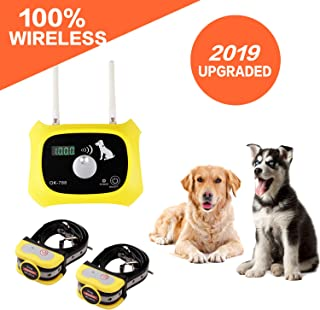 JUSTSTART Wireless Dog Fence Electric Pet Containment System, Safe Effective No Randomly Shock Design, Adjustable Control Range 1000 Feet & Display Distance, Rechargeable Waterproof Collar Receiver