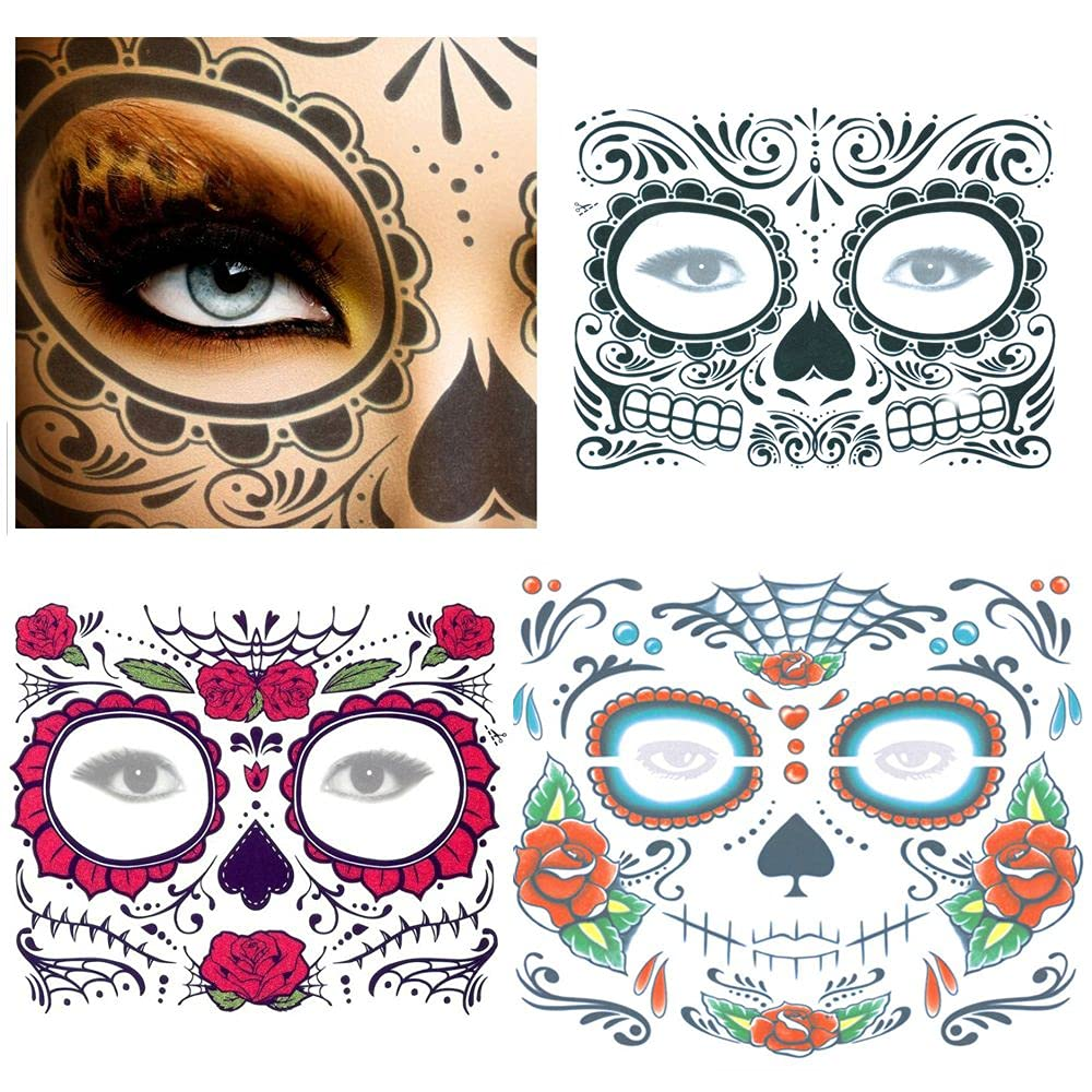 Day of The Dead Skull Face Temporary up Animer and price revision Recommendation Tattoo Po dress Stickers