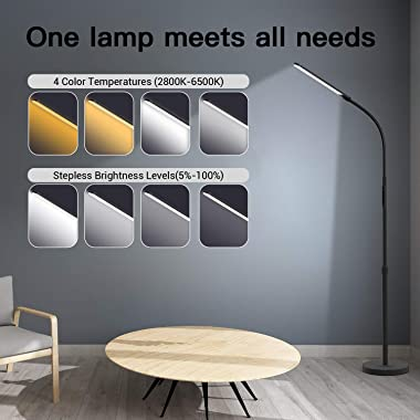 NXONE Led Floor Lamp,Modern Reading Adjustable Standing Height 4 Colors and Stepless Brightness Work Lamp for Living Room Bed