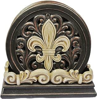 LL Home Fleur-De-Lis Carved Scrolls 4 Coaster Set
