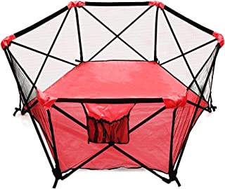 My Little Beetle, Portable & Foldable Playpen for Infants and Babies | for Outdoor Or Indoor Use | Light & Open Playard with Hexagon Shape | Two Color Red and Black.