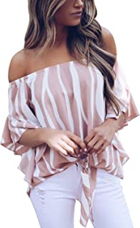 Womens Striped Off The Shoulder Tops 3 4 Flare Sleeve Tie...