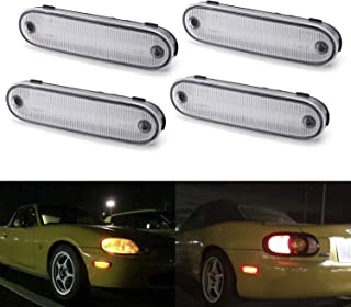 iJDMTOY Clear Lens Amber/Red Full LED Side Marker Light Kit For 1990-2005 Mazda Miata MX-5, Powered by Total 84-SMD LED, Replace OEM Sidemarker Lamps