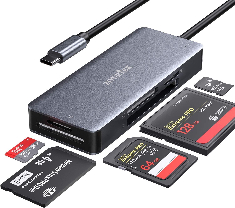 ZIYUETEK USB C CF Card Reader 5- San Francisco Special Campaign Mall in-1 3 Mem Thunderbolt Aluminum