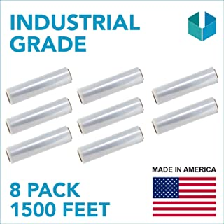 """18""""x 1500 FT Roll- 80 Gauge Thick 66 Lbs,Self-Adhesive Stretch wrap Moving & Packing Wrap. Industrial Strength, Plastic Pallet Shrink Film Ideal for Furniture, Boxes, Pallets (Clear) (8 Pack)"""