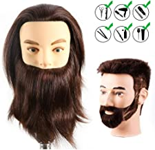 HAIREALM Male Mannequin Head With 100% Human Hair Cosmetology Doll Head for Hair Styling (Table Clamp Stand Included) HF0408S
