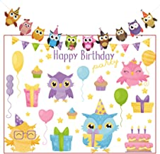 Spotlip Owl Balloons Cake Photo Backdrop and Studio Props DIY Kit.1 PCS Owl Photo Booth Background,1 Set Owl Happy Birthday Party Banner(Set of 10 PCS Different Colorful Owl Flags)