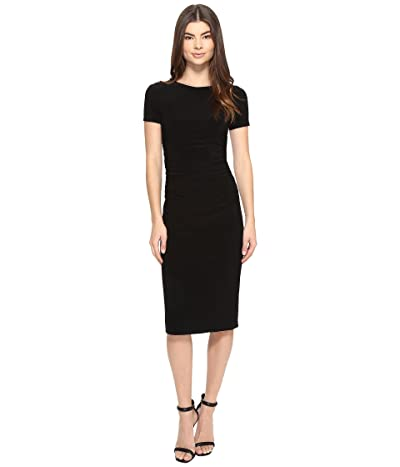 KAMALIKULTURE by Norma Kamali Short Sleeve Crew Neck Shirred Waist Dress (Black) Women