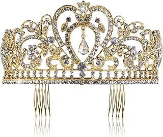 Pixnor, tiara nuziale a corona, con strass e pettine, dorata
