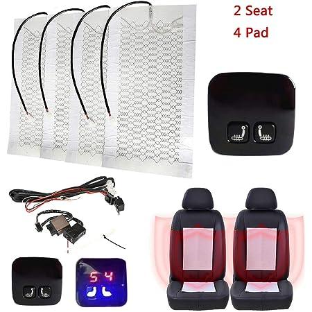 Conpush Touch Schalter 2 Set Auto Carbon Einbau Sitzheizung 4 X Heizmatten Universal Nachrüstsatz 12 V Für Auto Kfz Lkw Und Boot Auto