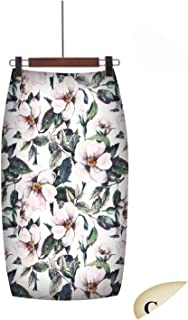 on Spring Style Pencil Skirt High Waist Green Skirts Vintage Elegant Bodycon Fl Print Midi Skirt