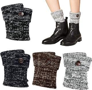VBIGER Damen Beinwärmer kurze Stiefelsocken Winter Beinstulpen häkeln Stiefelstulpe Knopf Dekoriert Strickstiefel Manschetten, 4 Paar