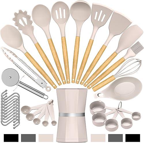 popular Silicone Cooking Kitchen Utensil Set, Umite Chef online 34pcs Heat Resistant Kitchen Utensils with Holder, Khaki lowest Kitchen Spatula Set with Wooden Handle, Kitchen Gadget Tools for Nonstick Cookware(BPA Free) online