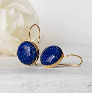 Lapis Lazuli Earrings Faceted Oval Lapis and Sterling Silver Bali-Style spacer beads