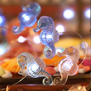 Impress Life Seahorse Beach Decorative String Lights, Under the Sea Nautical Ocean Theme Twinkle Lights Battery&USB Plug I...