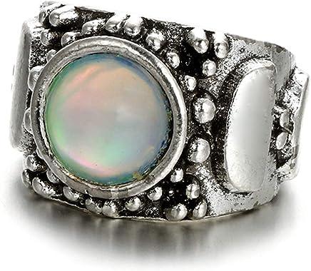 Epinki Ring for Women Girls Teardrop Irregular Colorful Opal Eternity Anniversary Wedding Band Ring