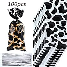 100 Pieces Cow Print Decorations Farm Animal Candy Bags Heat Sealable Cow Print Treat Bags with 100 Pieces Silver Twist Ties for Farm Party Western Party Favors Farm Animal Party Picnic Supplies