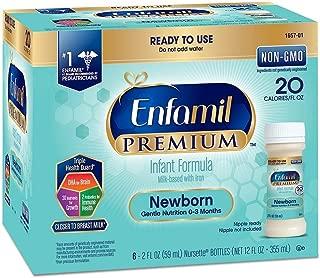 Enfamil Premium Newborn Infant Formula, 20 Calorie/fl oz Nursettes, 0-3 Months 6 ea (Pack of 8) (48 CT)