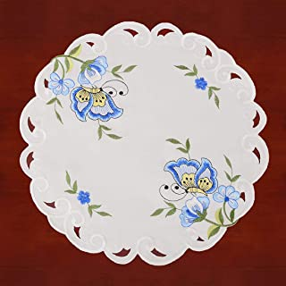 Simhomsen Embroidered Butterfly Round Small Table Doilies for Spring and Summer, Centerpieces, Set of 4 (Blue, Diameter 15.5-inch)