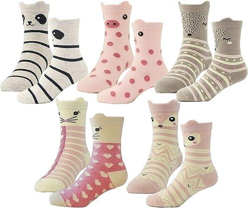 HzCojulo Kids Toddler Big Little Girls Fashion Cotton Crew Cute Socks -5 Pairs