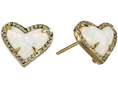 Kendra Scott Ari Heart Stud Earrings (Gold White Opal) Earring