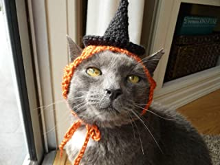 Cat Halloween Costume Crochet Pattern Cat Costume Witch Costume Witch Hat Cat Hat Halloween Costume for Cat Spooky Cat Clothes Orange Black