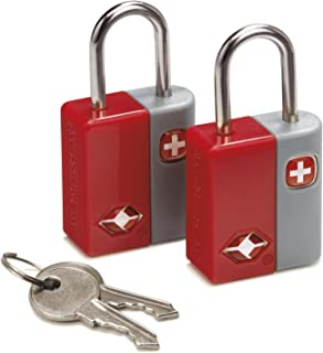 SwissGear TSA-Approved Travel Sentry Luggage Locks - Set of 2 Mini Locks with 2 Keys, Red, One Size