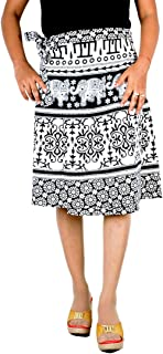 Rajvila Women's Cotton Regular Wrap Around Printed Knee Length Skirt (B-WW24_0015, White, Free Size)