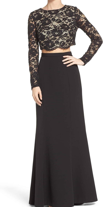 Aidan by Aidan Mattox Women's Lace and Taffeta Two Piece Gown