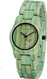 Bewell 105DL Green Bamboo Wristwatch for Women, Lightweight Quartz Analog Casual Wooden Watches