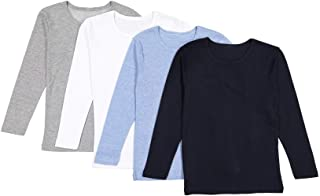 Brix Baby Toddler Boys' Long Sleeve - 4-Pack Cotton Tagless Tee Shirts.