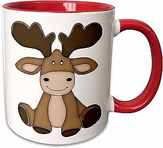 3dRose 211135_5 Cute Sitting Moose Illustration Ceramic Mug, 11 oz, Red/White