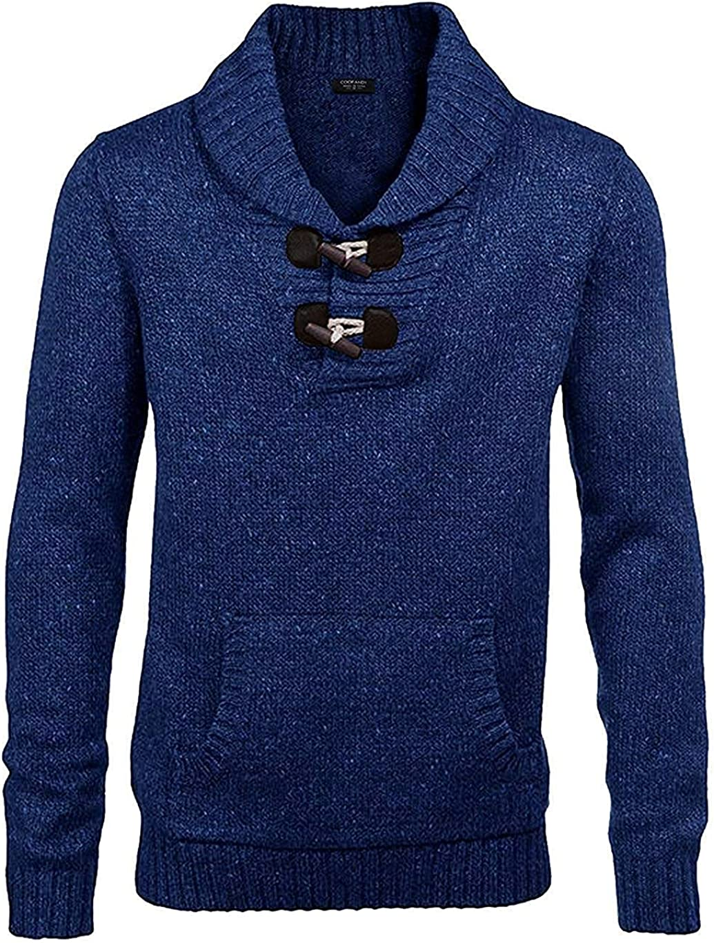 COOFANDY Men's Shawl Collar Pullover Sweater Relaxed Fit Casual Cotton Cable Knit Sweaters with Pockets