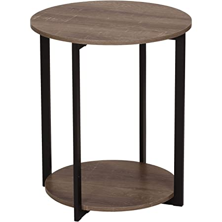 Household Essentials Wooden Side End Table With Storage Shelf Ashwood Furniture Decor