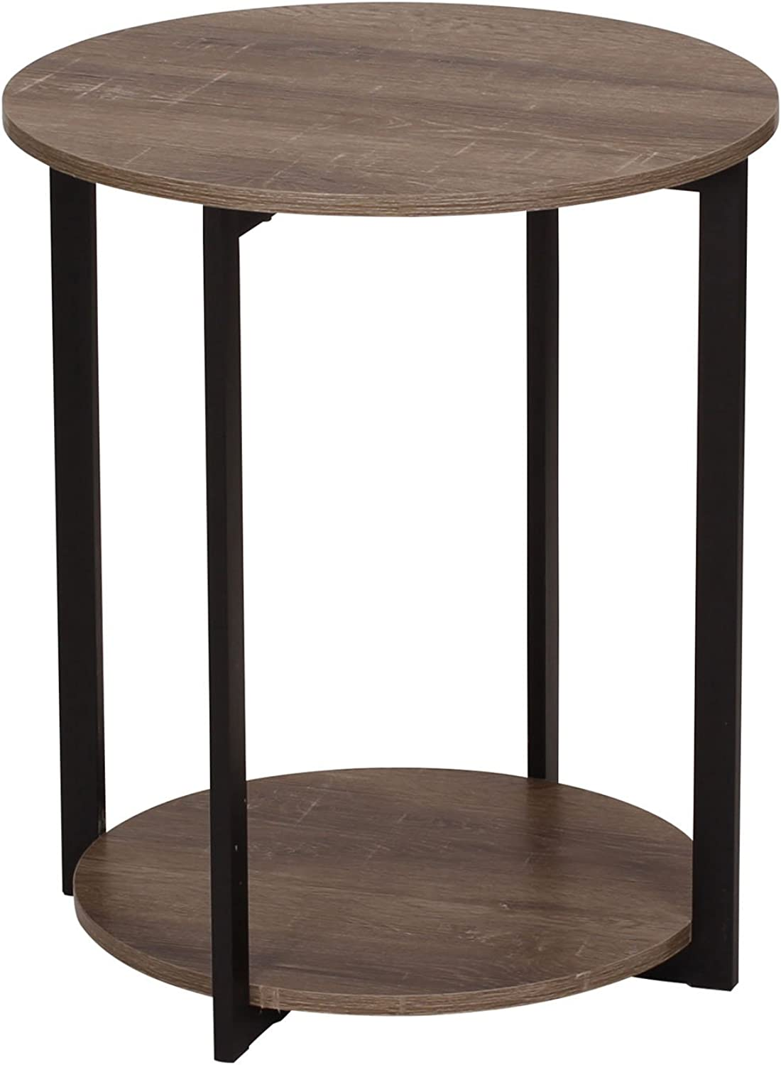 Household Essentials 8080-1 Round Wooden Side Table   End Table with Storage Shelf   Ashwood