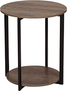Household Essentials Wooden Side End Table with Storage Shelf | Ashwood