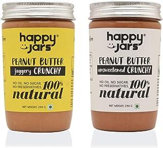 Happy Jars 100% Natural Vegan Crunchy Peanut Butter Duo | 290g Each | Crunchy | Gluten Free | Vegan | Keto Friendly | No O...
