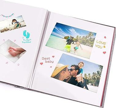 BESTOO Album Photo Scrapbooking Couvert en Lin 40 Pages épaisses Bricolage Auto-adhésif Photo Livre pour Anniversaire de Mari