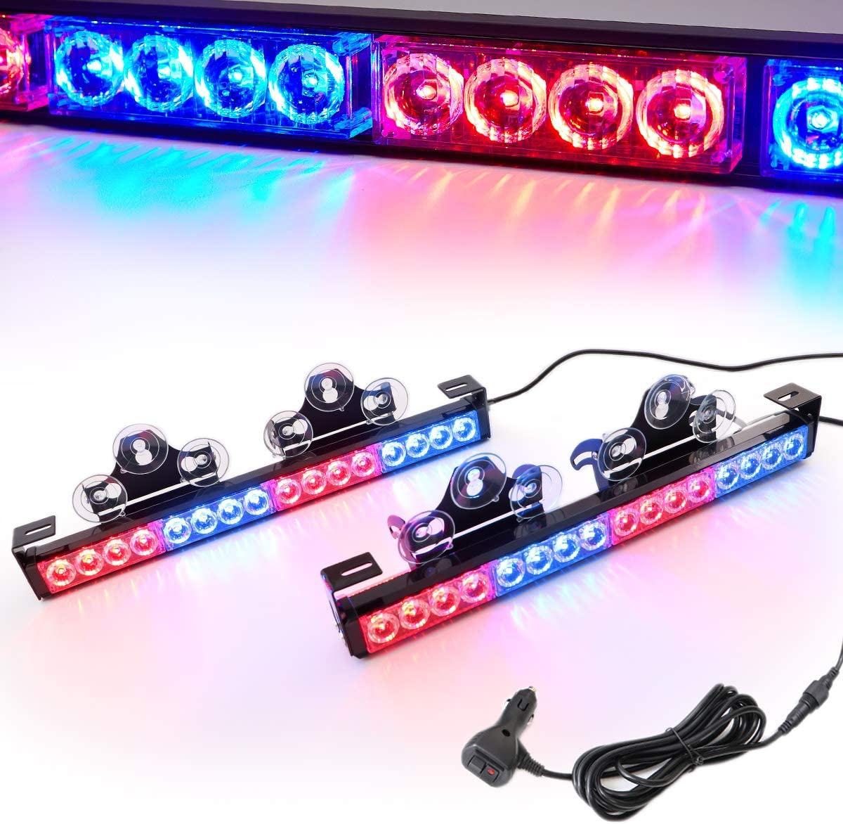 2/×16.8 inch, 32 Led LE-JX Amber 2 in 1 Emergency Strobe Light Bar 21 Flash Patterns Yellow Traffic Advisor Warning Hazard Windshield Safety Lights Bar with Cigar Lighter for Police Vehicles Truck