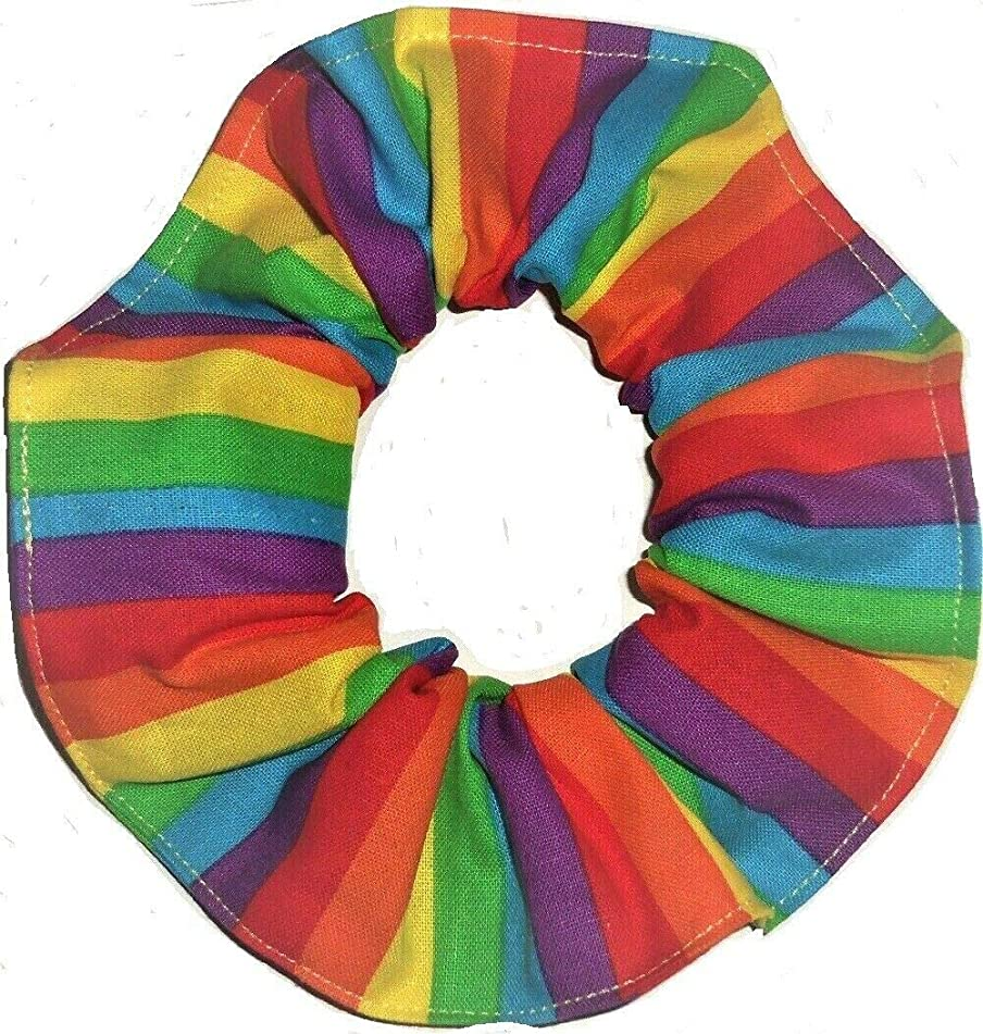 Rainbow Stripes Hair Scrunchies Ponytail Holders handmade by Scrunchies by Sherry