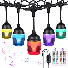 YUNLIGHTS Color Changing Outdoor String Lights 41FT RGB LED String Lights Music Sync with 14 F12c Bulbs, Dimmable IP65 Wat...