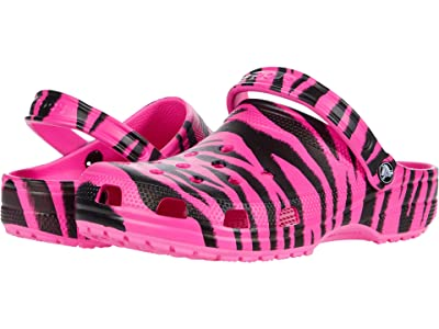 Crocs Classic Animal Print Clog (Electric Pink/Black) Shoes