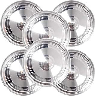 Prisha India Craft Stainless Steel Round Dinner Plates Thali, 10 Inch, Set of 6