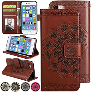 iPhone 8 Case, iPhone 7 Case, Fold Stand Wallet Case 3D Emboss Flower Leather Cover iPhone7 Flip Magnetic Folio Protective Phone Cover with Credit Card Holder for 4.7inch iPhone8 (Brown)