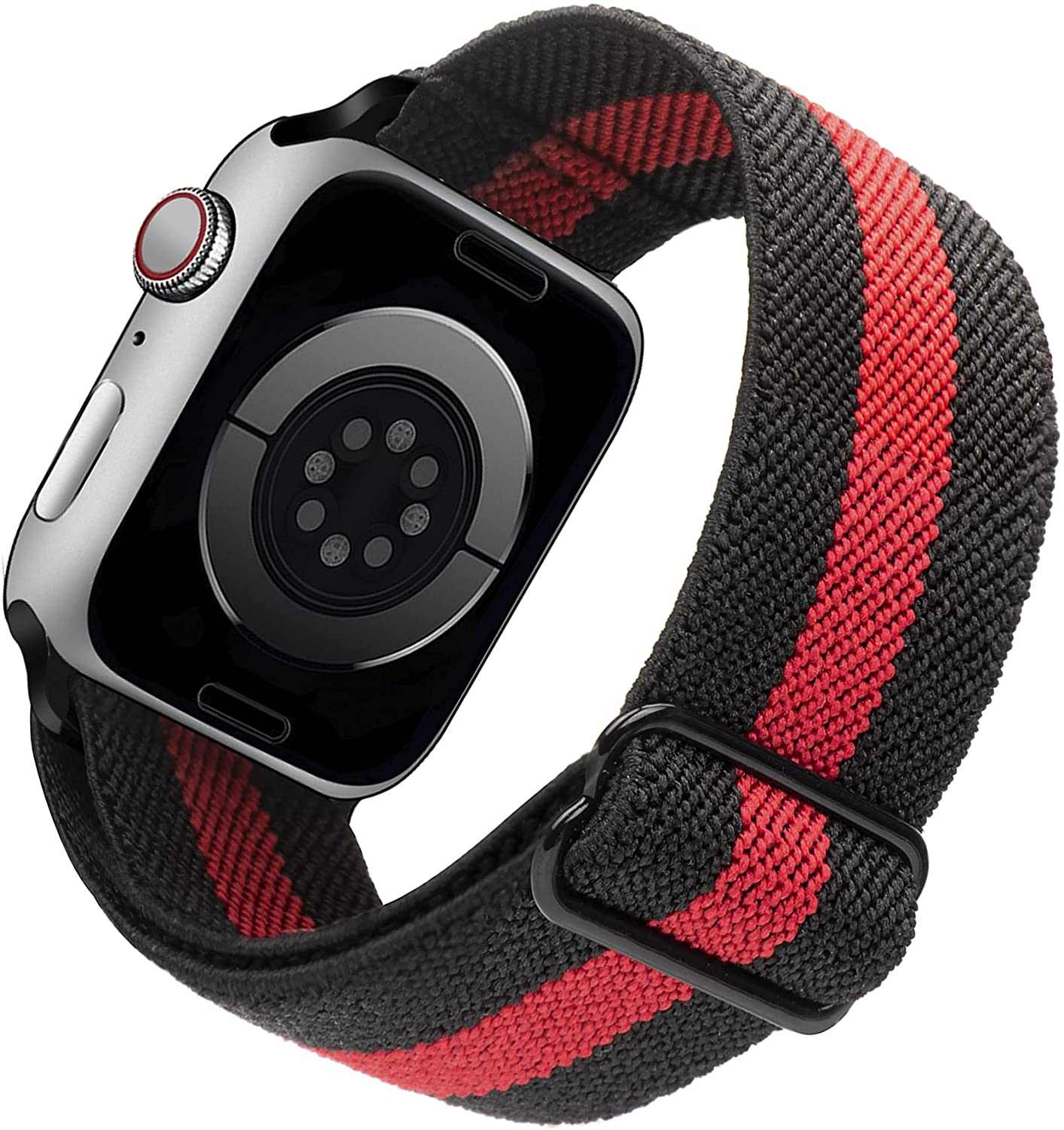 Arae Stretchy Nylon Watch Band Compatible with Apple Watch Band 40mm 38mm Adjustable Elastic Sport Band for iWatch Series 6 5 4 SE 3 2 1 Women Men - Black+Red, 38/40mm