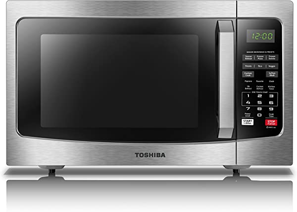 Toshiba EM131A5C SS Microwave Oven With Smart Sensor Easy Clean Interior ECO Mode And Sound On Off 1 2 Cu Ft 1100W Stainless Steel